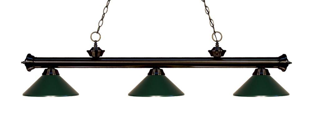 Filament Design 3-Light Bronze Island/Billiard with Dark Green Steel Shade - 57 inch