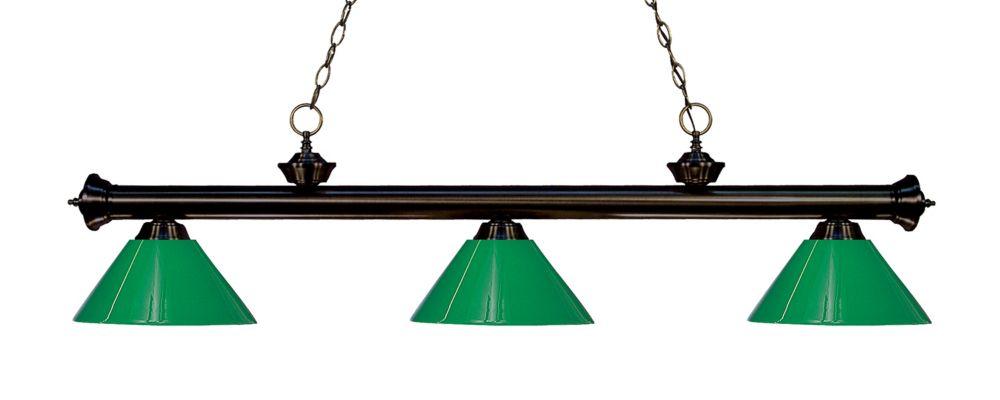 3-Light Bronze Island/Billiard with Green Plastic - 57 inch