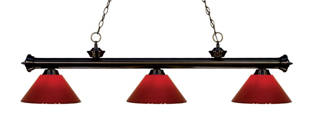 3-Light Bronze Island/Billiard with Red Plastic - 57 inch
