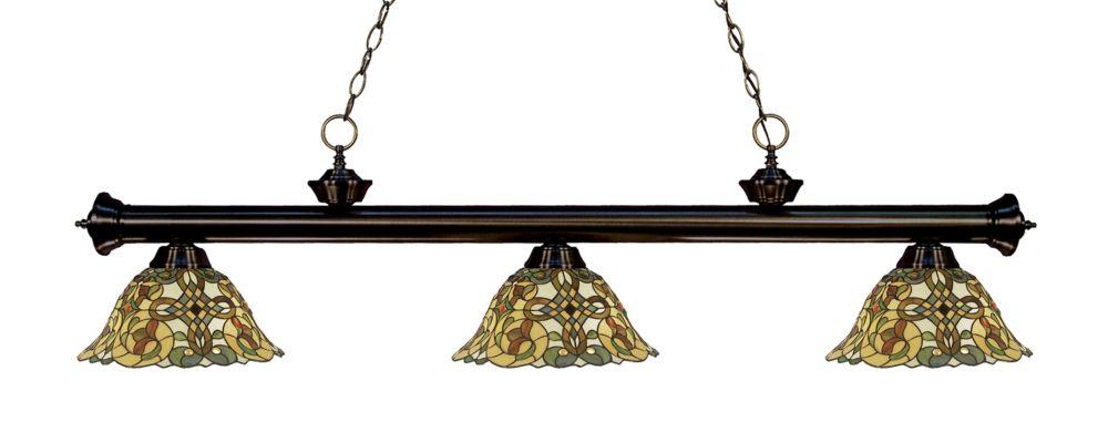 Filament Design 3-Light Bronze Dimmable Billiard with Multi Colored Tiffany Glass