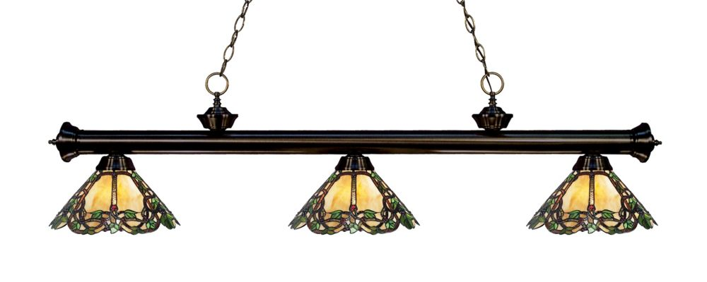 3-Light Bronze Dimmable Island/Billiard with Multi Colored Tiffany Glass Shades - 57 inch