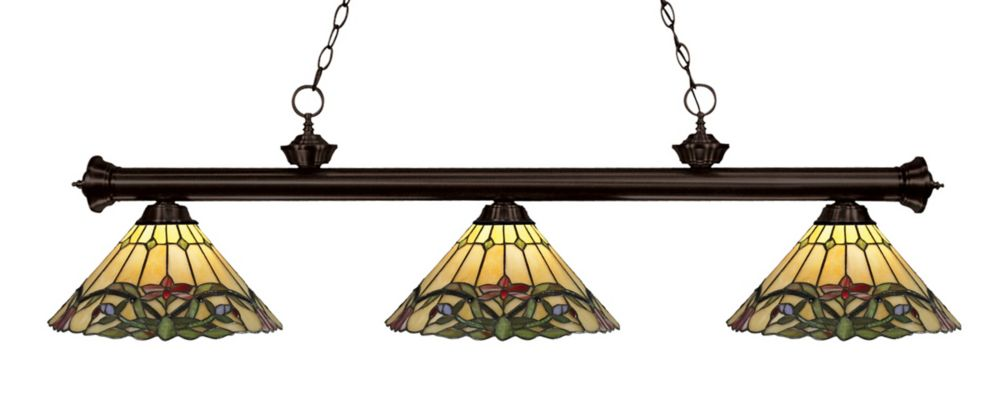 3-Light Bronze Dimmable Island/Billiard with Tiffany Glass Shade - 57 inch