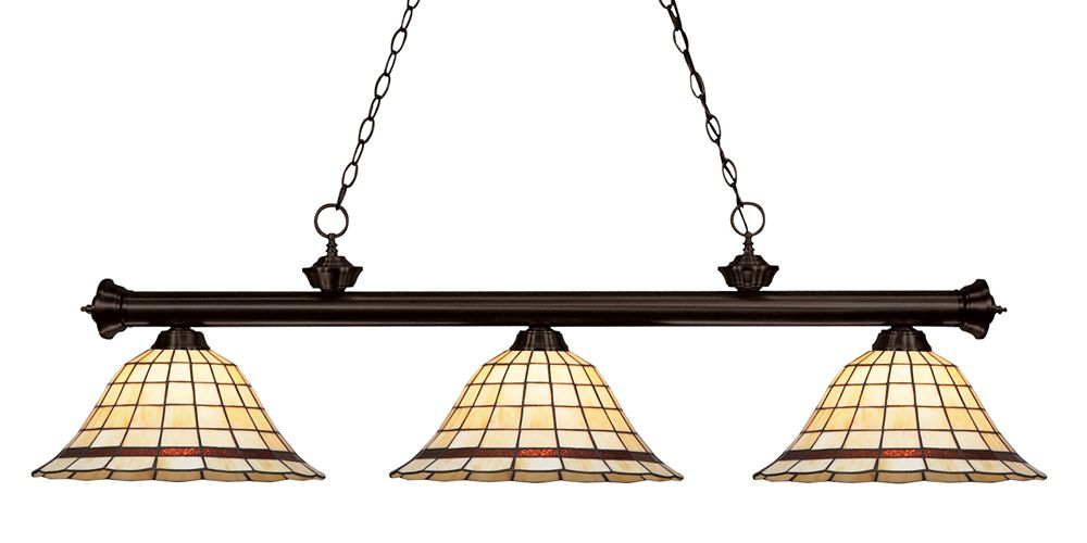3-Light Bronze Dimmable Island/Billiard with Multi Colored Tiffany Glass Shades