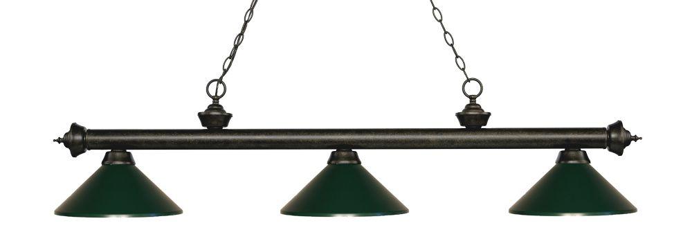 Filament Design 3-Light Golden Bronze Island/Billiard with Dark Green Steel Shade - 57.25 inch