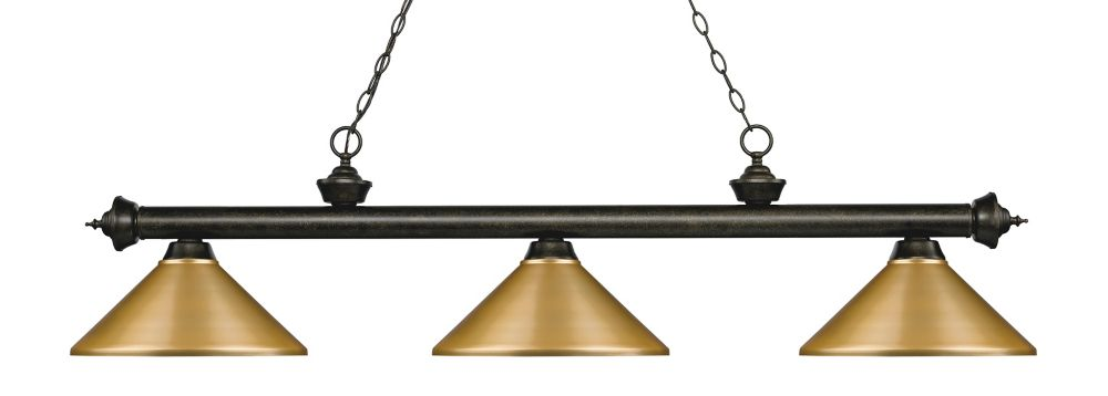 Filament Design 3-Light Golden Bronze Island/Billiard with Satin Gold Steel Shade - 57.25 inch