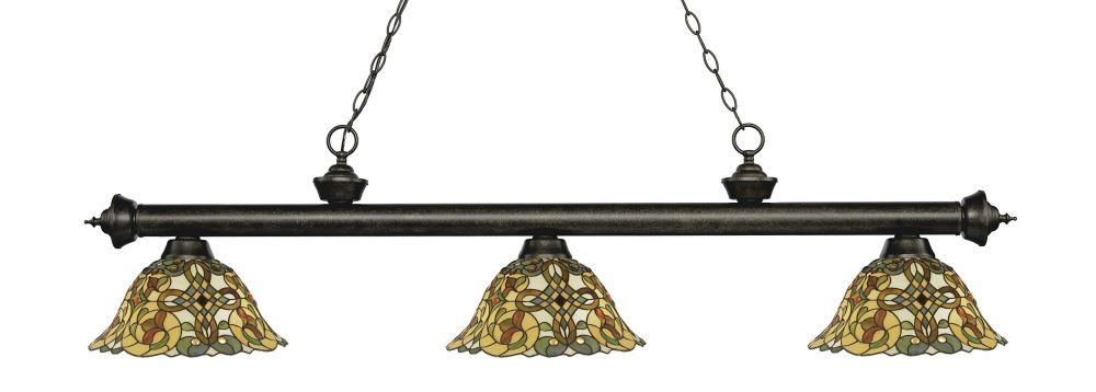 Filament Design 3-Light Golden Bronze Dimmable Island/Billiard with Multi Colored Tiffany Glass Shades