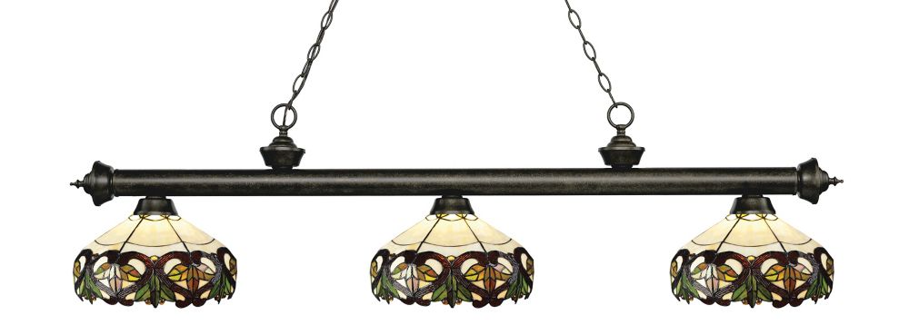 3-Light Golden Bronze Dimmable Island/Billiard with Multi Colored Tiffany Glass Shade - 57 inch