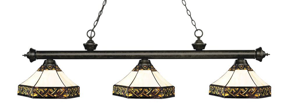 3-Light Golden Bronze Island/Billiard with Multi Colored Tiffany Glass - 59 inch