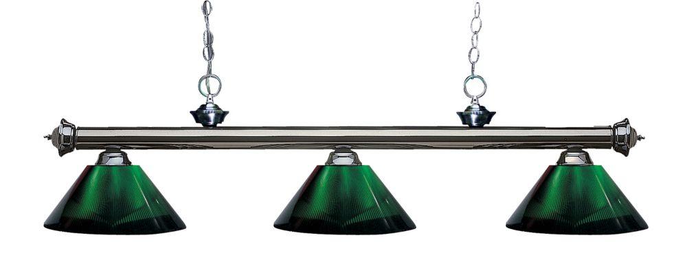 Filament Design 3-Light Gun Metal Island/Billiard with Green Acrylic Shade - 57 inch