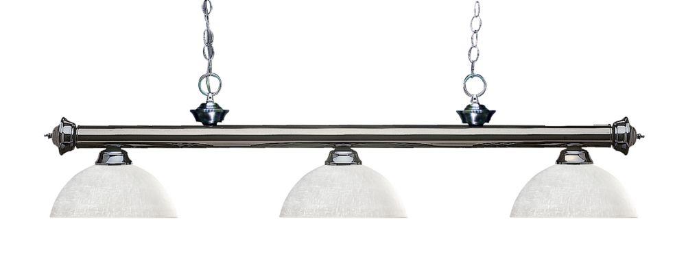 Filament Design 3-Light Gun Metal Billiard with White Linen Glass Shades - 57 inch