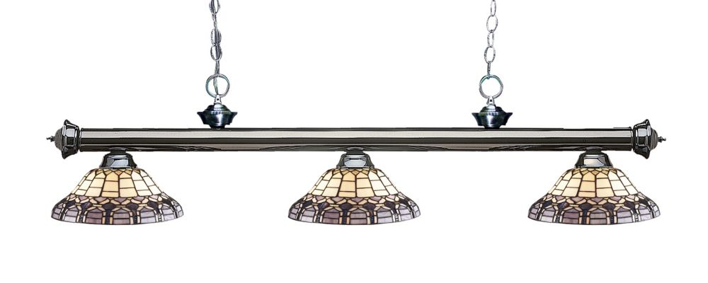 3-Light Gun Metal Billiard with Multi Colored Tiffany Glass Shades - 57 inch