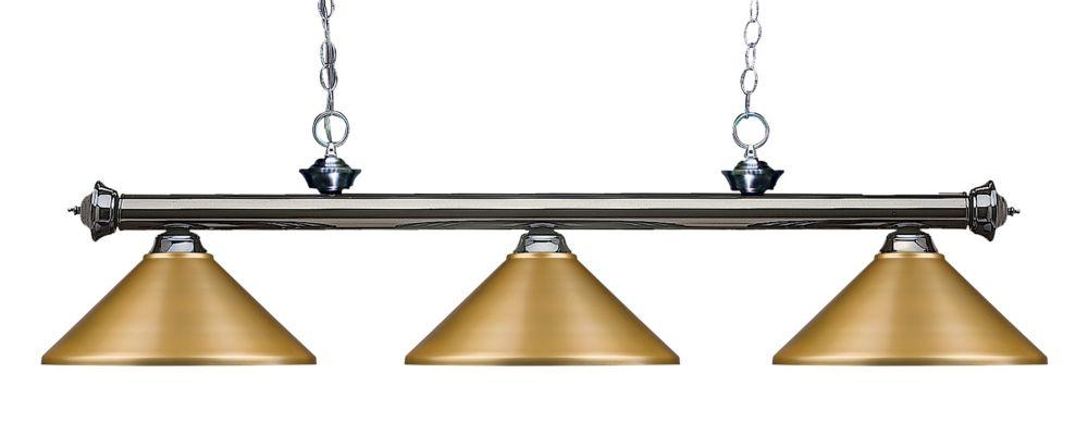 Filament Design 3-Light Gun Metal Island/Billiard with Satin Gold Steel Shade - 57 inch