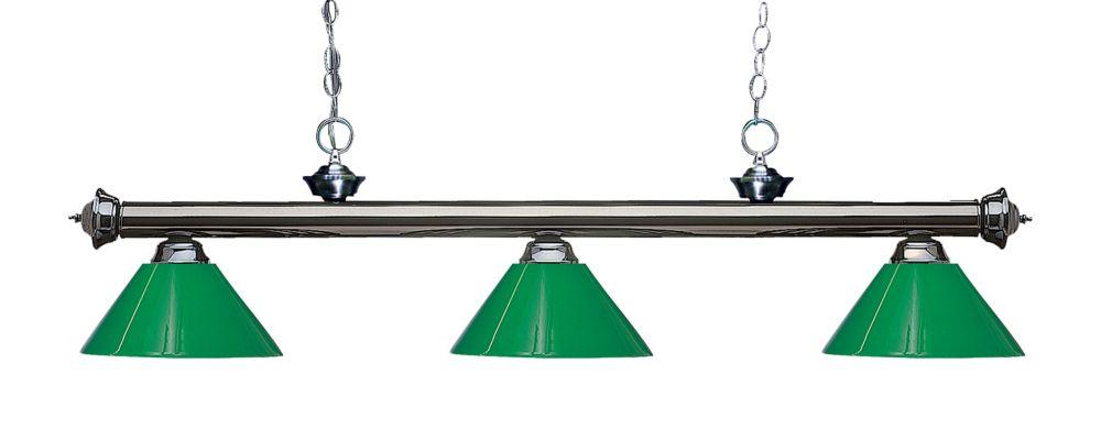 Filament Design 3-Light Gun Metal Island/Billiard with Green Plastic - 57 inch