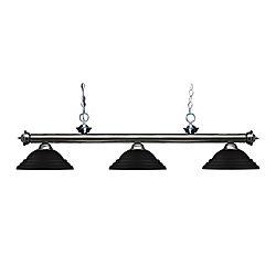 Filament Design Billard en métal à 3 ampoules avec abat-jour en acier noir mat