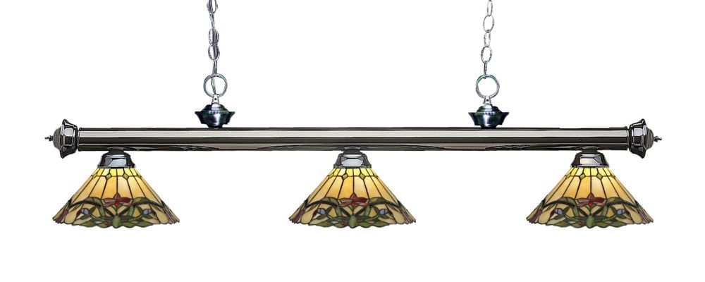 3-Light Gun Metal Dimmable Billiard with Multi Colored Tiffany Glass