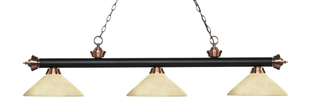 3-Light Matte Black and Antique Copper Island/Billiard with Golden Mottle Glass - 56.75 inch