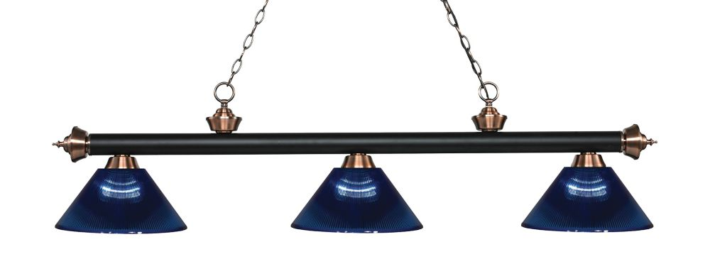 Filament Design 3-Light Matte Black and Antique Copper Island/Billiard with Dark Blue Acrylic Shade - 57.25 inch