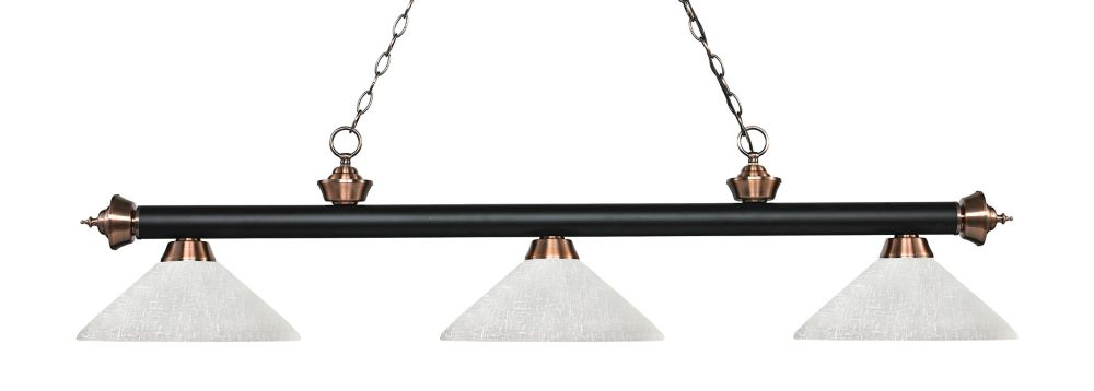 3-Light Matte Black and Antique Copper Island/Billiard with White Linen Glass - 56.75 inch