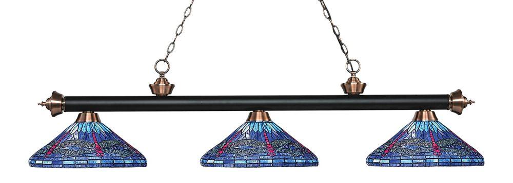 Filament Design 3-Light Matte Black and Antique Copper Island/Billiard with Multi Colored Tiffany Glass - 60 inch