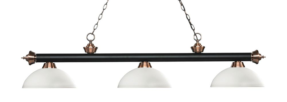 3-Light Matte Black and Antique Copper Island/Billiard with Matte Opal Glass - 56.5 inch