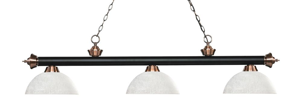 Filament Design 3-Light Matte Black and Antique Copper Island/Billiard with White Linen Glass - 56.5 inch