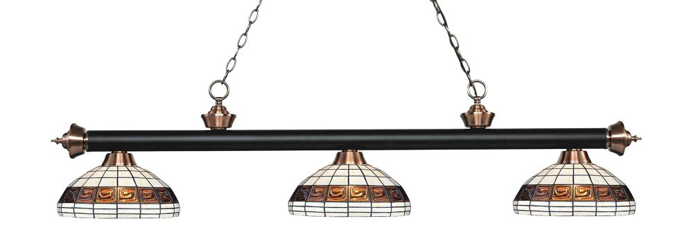 Filament Design 3-Light Matte Black and Antique Copper Dimmable Billiard with Multi Colored Tiffany Glass