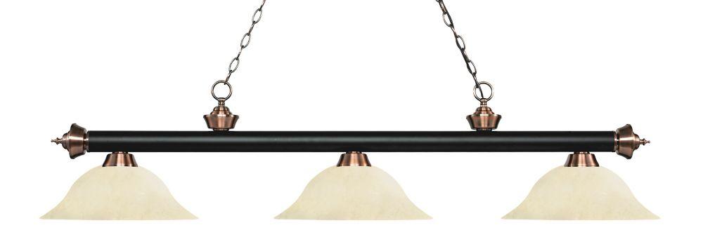 Filament Design 3-Light Matte Black and Antique Copper Island/Billiard with Golden Mottle Glass - 59 inch
