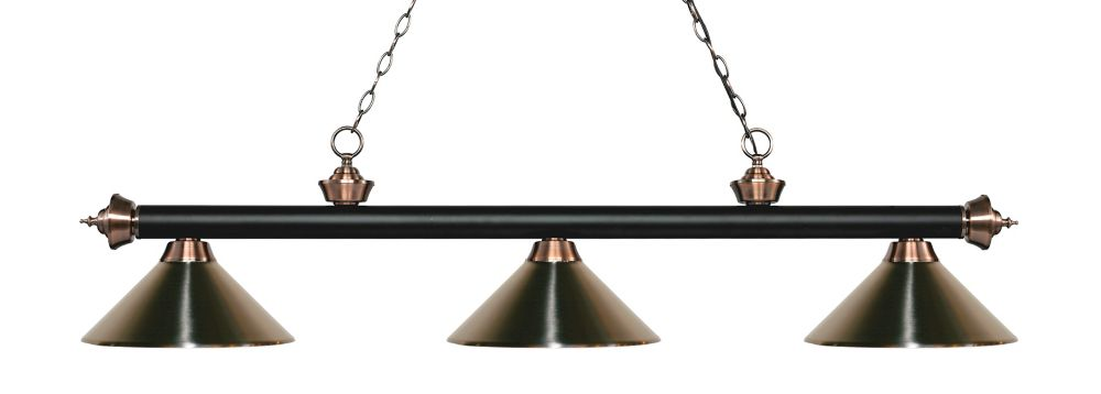 3-Light Matte Black and Antique Copper Island/Billiard with Brushed Nickel Steel Shade - 57.25 inch