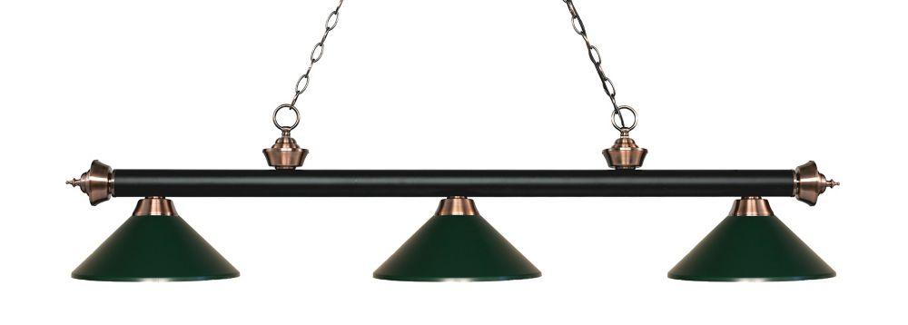 Filament Design 3-Light Matte Black and Antique Copper Island/Billiard with Dark Green Steel Shade - 57.25 inch