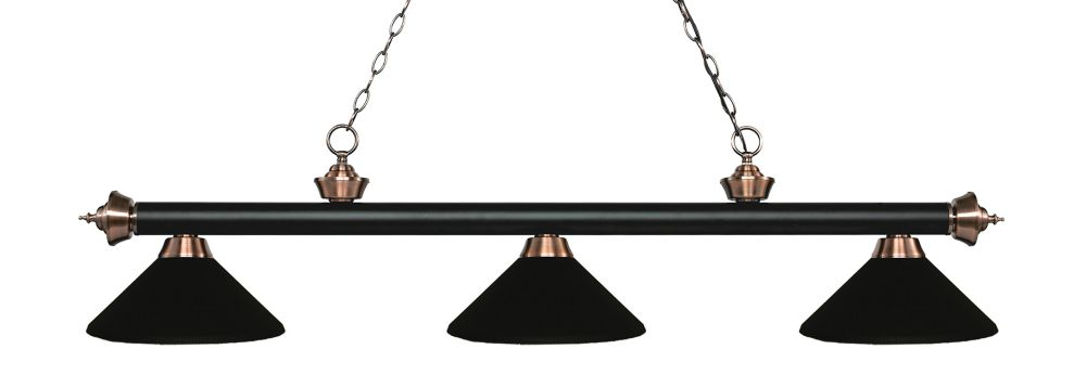 Filament Design 3-Light Matte Black and Antique Copper Island/Billiard with Matte Black Steel Shade - 57.25 inch