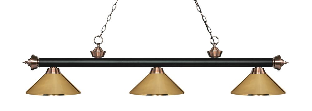 Filament Design 3-Light Matte Black and Antique Copper Island/Billiard with Polished Brass Steel Shade - 57.25 inch