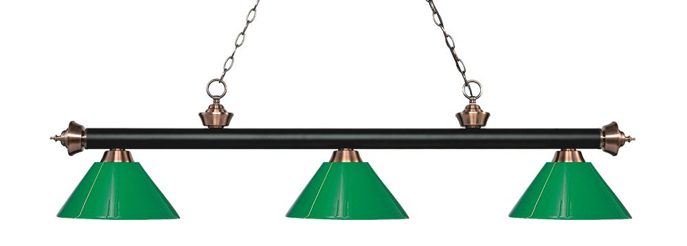 Filament Design 3-Light Matte Black and Antique Copper Island/Billiard with Green Plastic - 57 inch