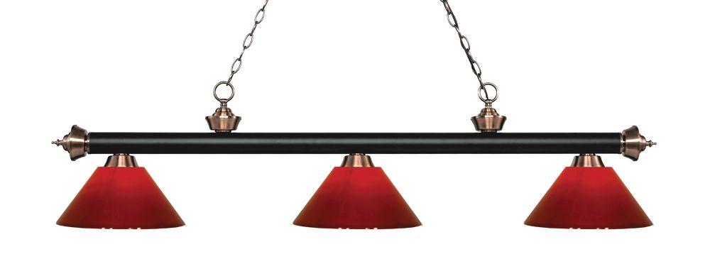 3-Light Matte Black and Antique Copper Island/Billiard with Red Plastic - 57 inch