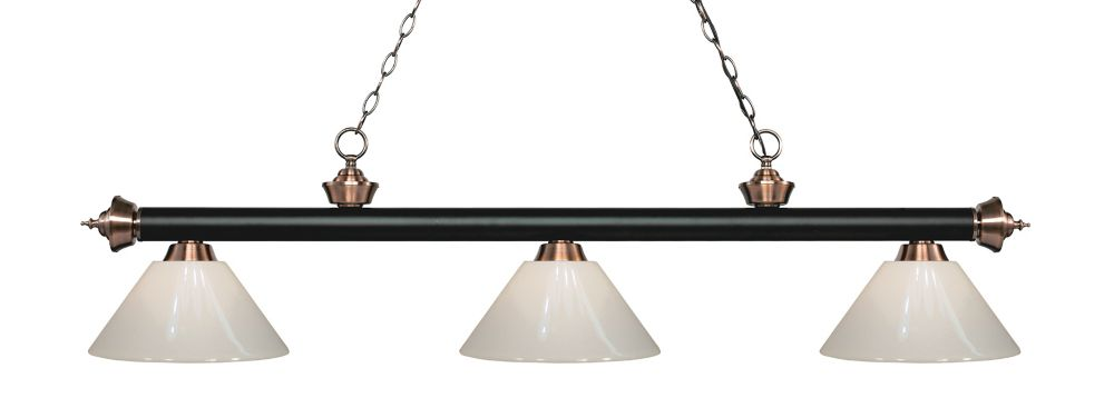 Filament Design 3-Light Matte Black and Antique Copper Island/Billiard with White Plastic - 57 inch