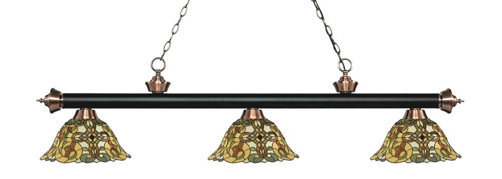 Filament Design 3-Light Matte Black and Antique Copper Billiard with Multi Colored Tiffany Glass