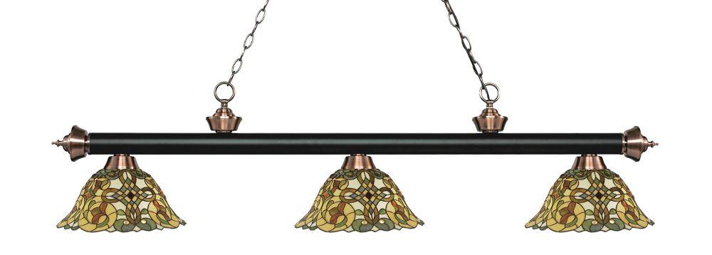 3-Light Matte Black and Antique Copper Billiard with Multi Colored Tiffany Glass