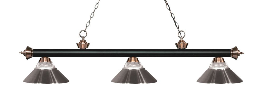 Filament Design 3-Light Matte Black and Antique Copper Billiard