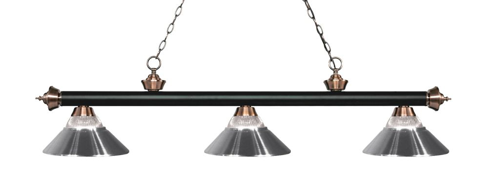 3-Light Matte Black and Antique Copper Dimmable Billiard wth Metal Shades