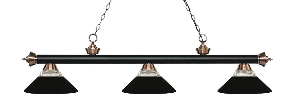 Filament Design 3-Light Matte Black and Antique Copper Dimmable Billiard