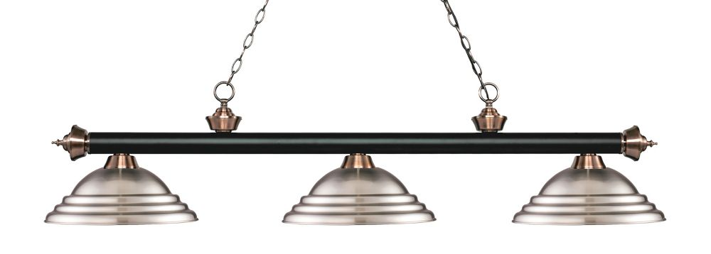 Filament Design 3-Light Matte Black and Antique Copper Island/Billiard with Brushed Nickel Steel Shade - 58.75 inch