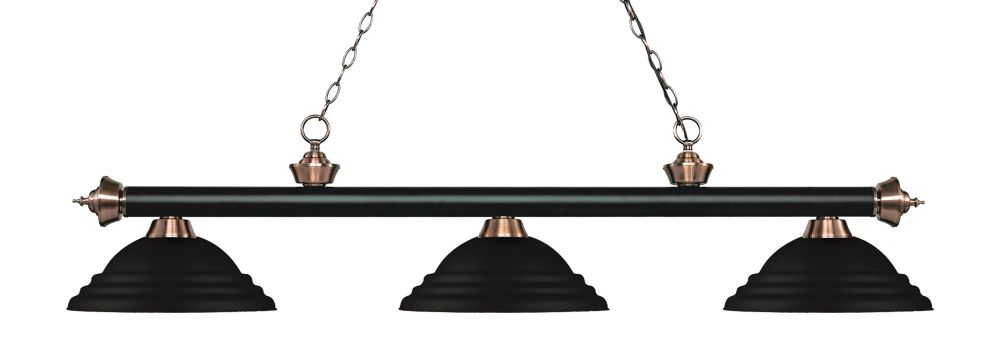 Filament Design 3-Light Matte Black and Antique Copper Island/Billiard with Matte Black Steel Shade - 58.75 inch