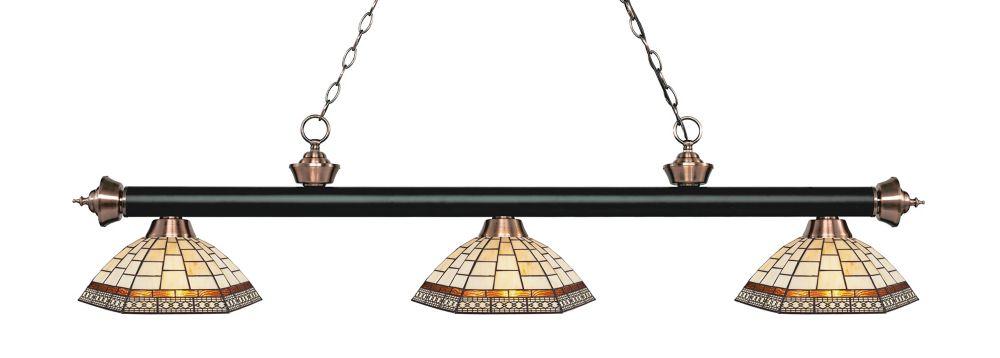 Filament Design 3-Light Matte Black and Antique Copper Island/Billiard with Multi Colored Tiffany Glass - 57.25 inch