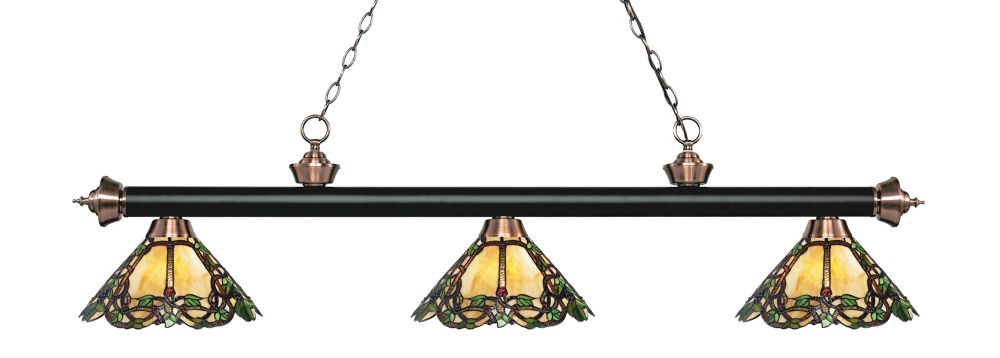 3-Light Matte Black and Antique Copper Billiard with Tiffany Glass - 57 inch