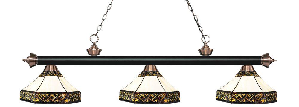 3-Light Matte Black and Antique Copper Island/Billiard with Multi Colored Tiffany Glass - 59 inch