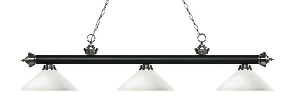 Filament Design 3-Light Matte Black and Brushed Nickel Island/Billiard with Matte Opal Glass - 56.75 inch
