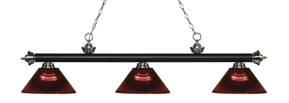 Filament Design 3-Light Matte Black and Brushed Nickel Island/Billiard with Burgundy Acrylic Shade - 57.25 inch