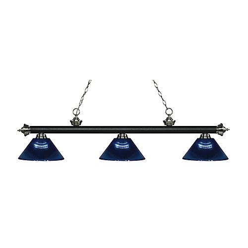 Billard / îlot 3 lumières noir mat et nickel brossé avec nuance acrylique bleu foncé