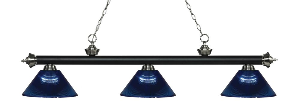 Filament Design 3-Light Matte Black and Brushed Nickel Island/Billiard with Dark Blue Acrylic Shade - 57.25 inch