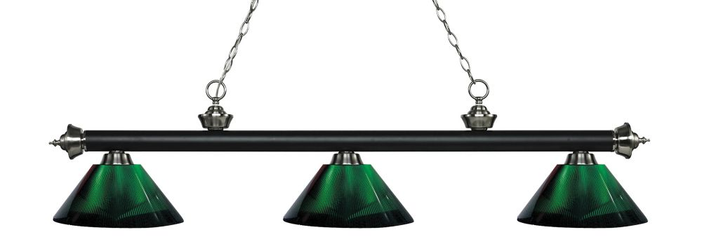 3-Light Matte Black and Brushed Nickel Island/Billiard with Green Acrylic Shade - 57.25 inch