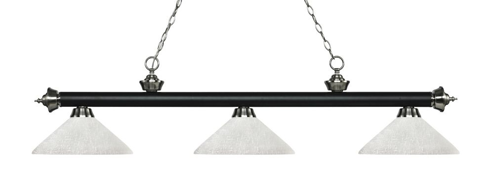 3-Light Matte Black and Brushed Nickel Island/Billiard with White Linen Glass - 56.75 inch